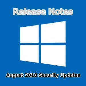 2018年8月のセキュリティ更新