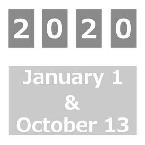 2020年1月14日と10月13日