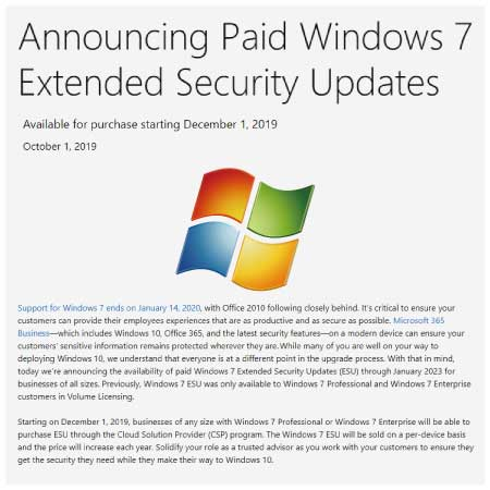 Windows 7 Extended Security Updates